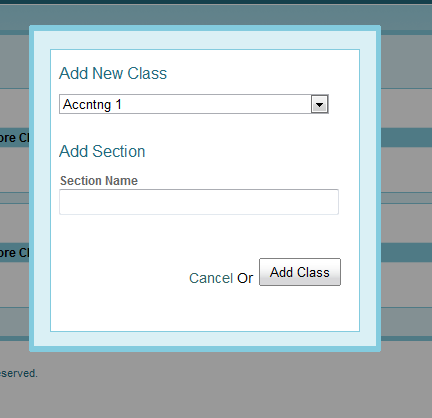 Add new class dialog showing add section